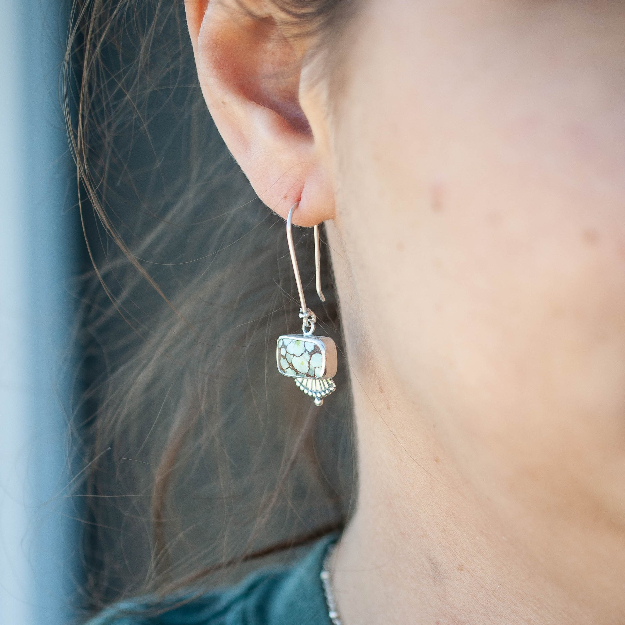 Turquoise Fan Drop Earrings 2