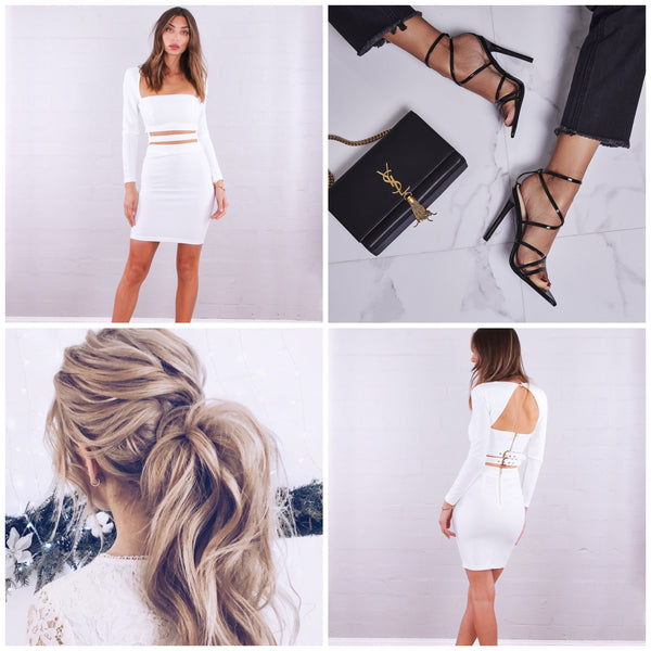 Drew Buckle Dress - White and Accessories