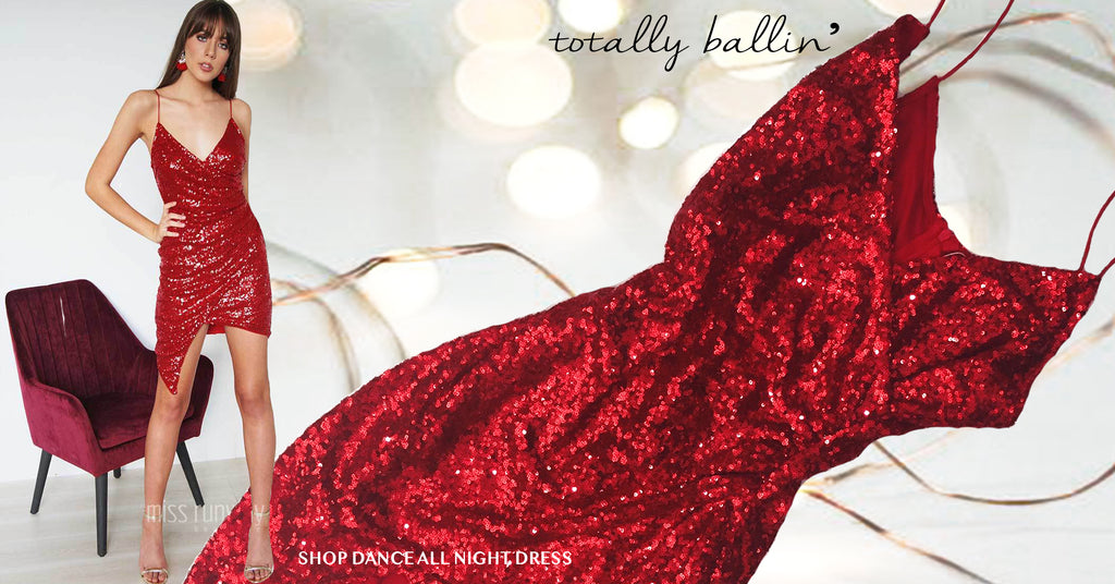 Dance all night sequin dress red
