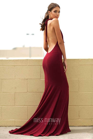 formal gown formal prom backless low back wine long dress