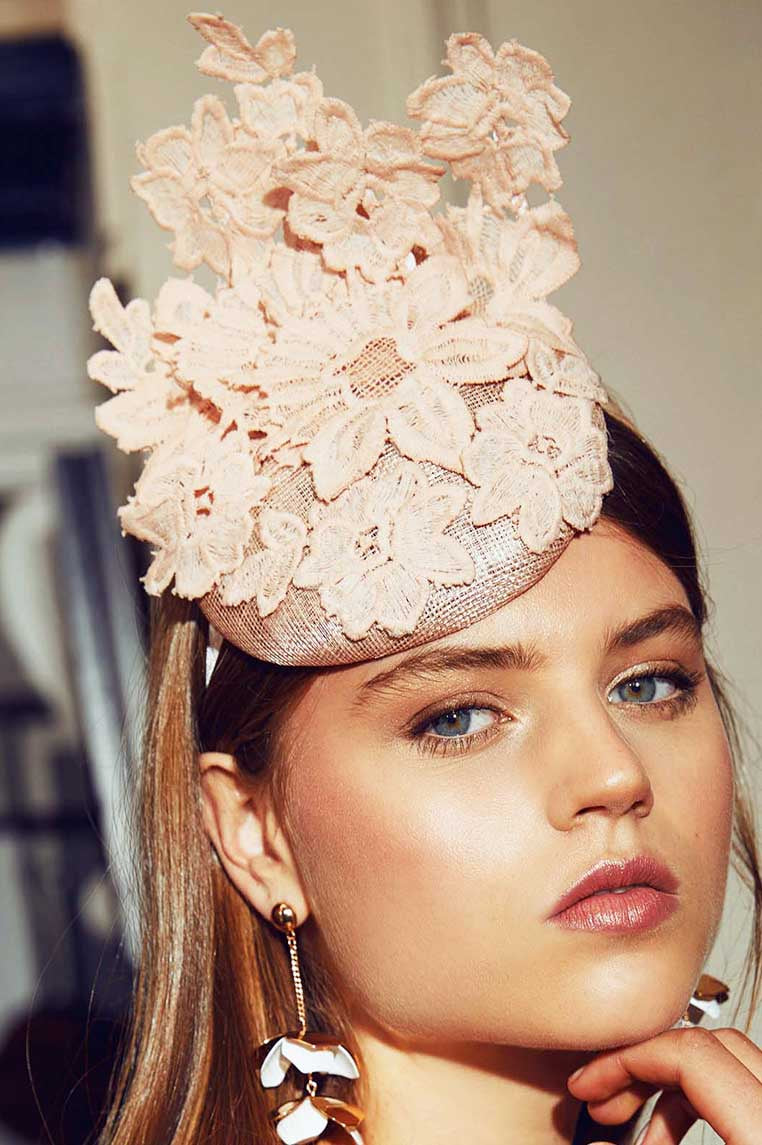 Everly Lace Fascinator - Pink - Miss Runway Boutique