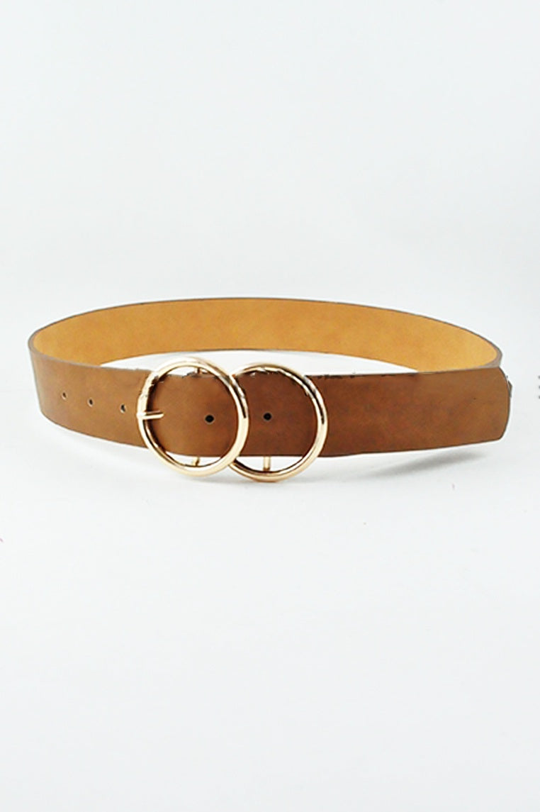 Double Circle Belt - Brown/Gold - Miss Runway Boutique