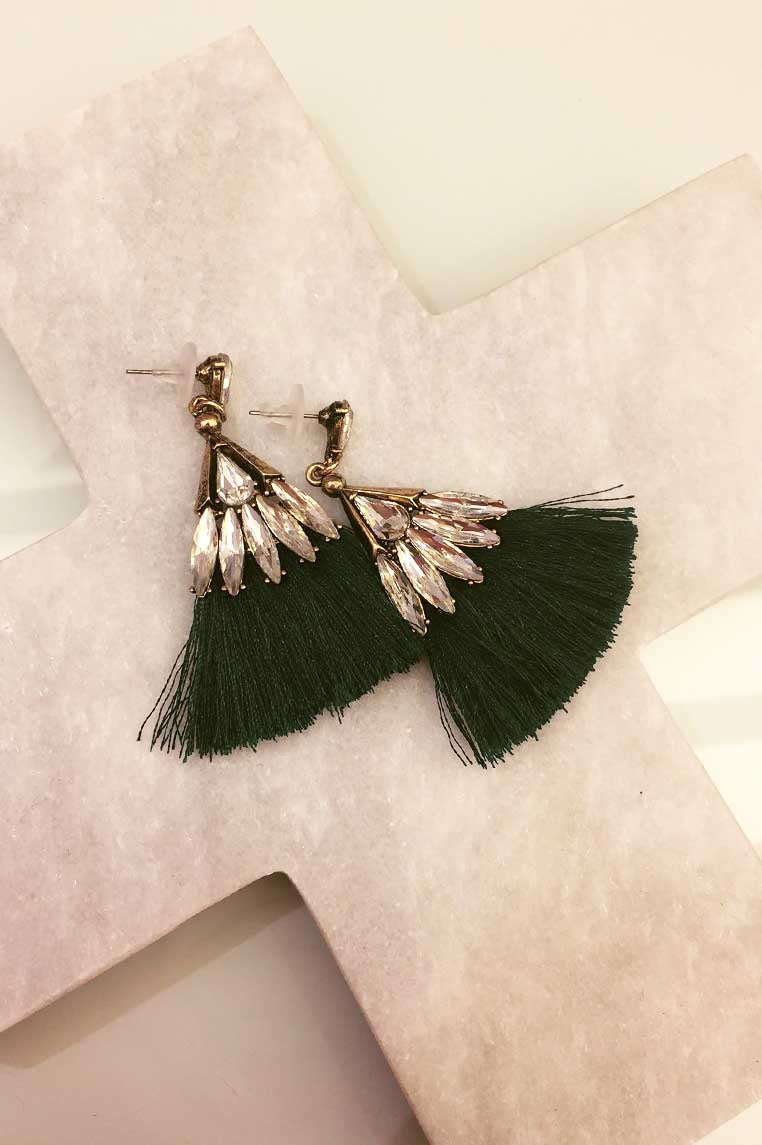 Fan Tassel Diamond Earrings - Emerald Green - Miss Runway Boutique