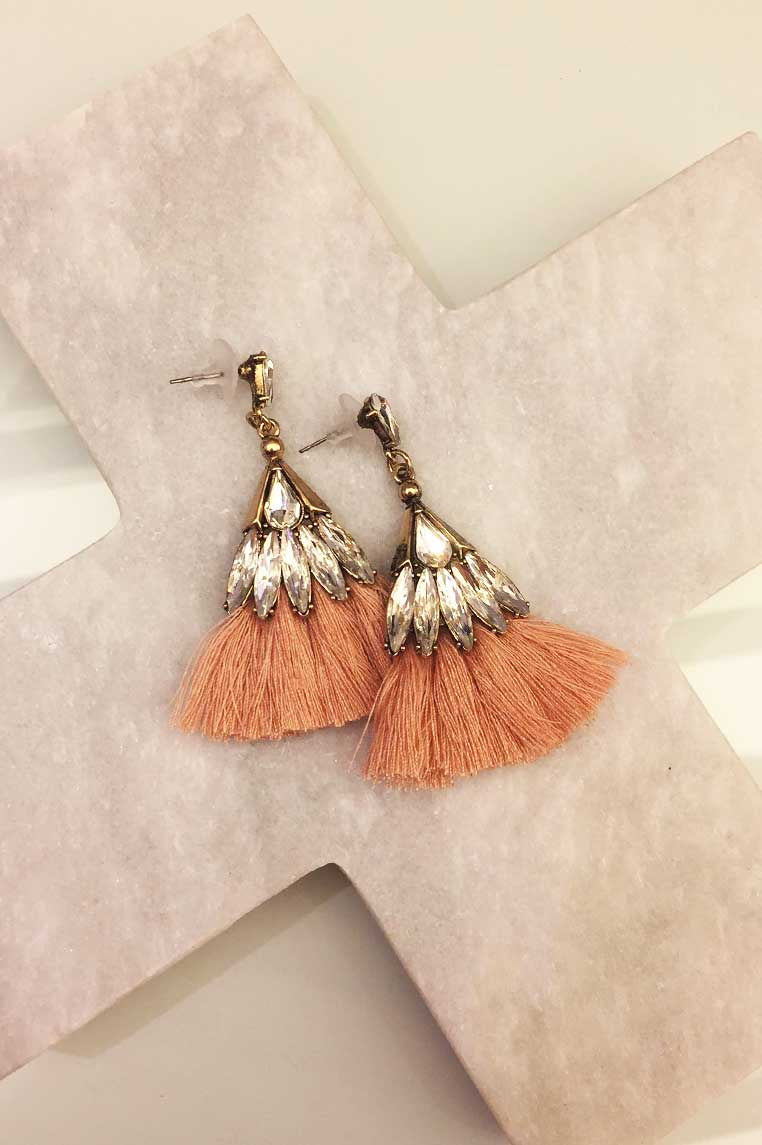 Fan Tassle Diamond Earrings - Apricot - Miss Runway Boutique
