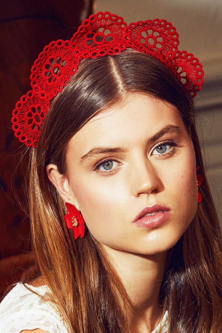 Averlie Lace Fascinator - Red - Miss Runway Boutique