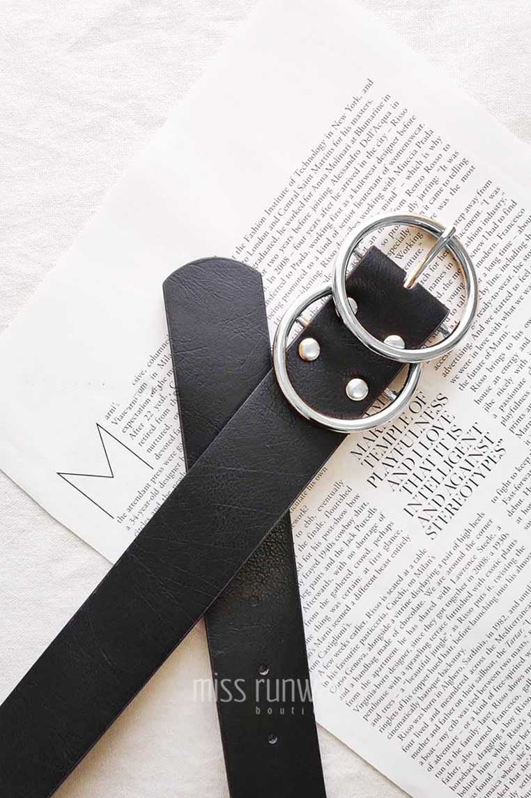 Double Circle Belt - Black/Silver