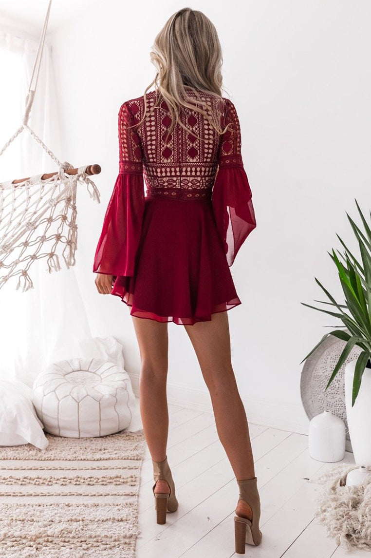 Alyse Lace Dress - Red - Miss Runway Boutique
