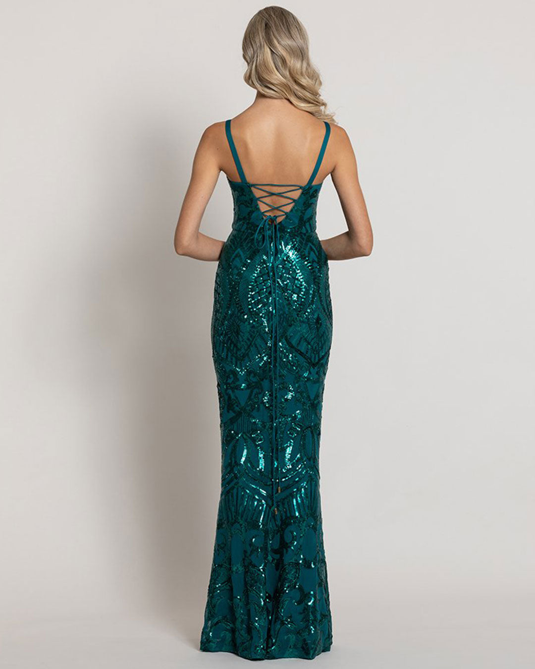 Alyssa Pattern Sequin Gown - Emerald Green