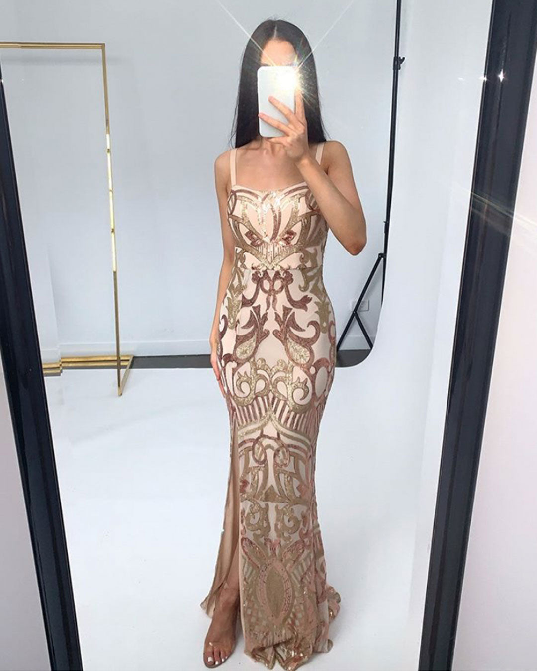Alyssa Pattern Sequin Gown - Rose Gold