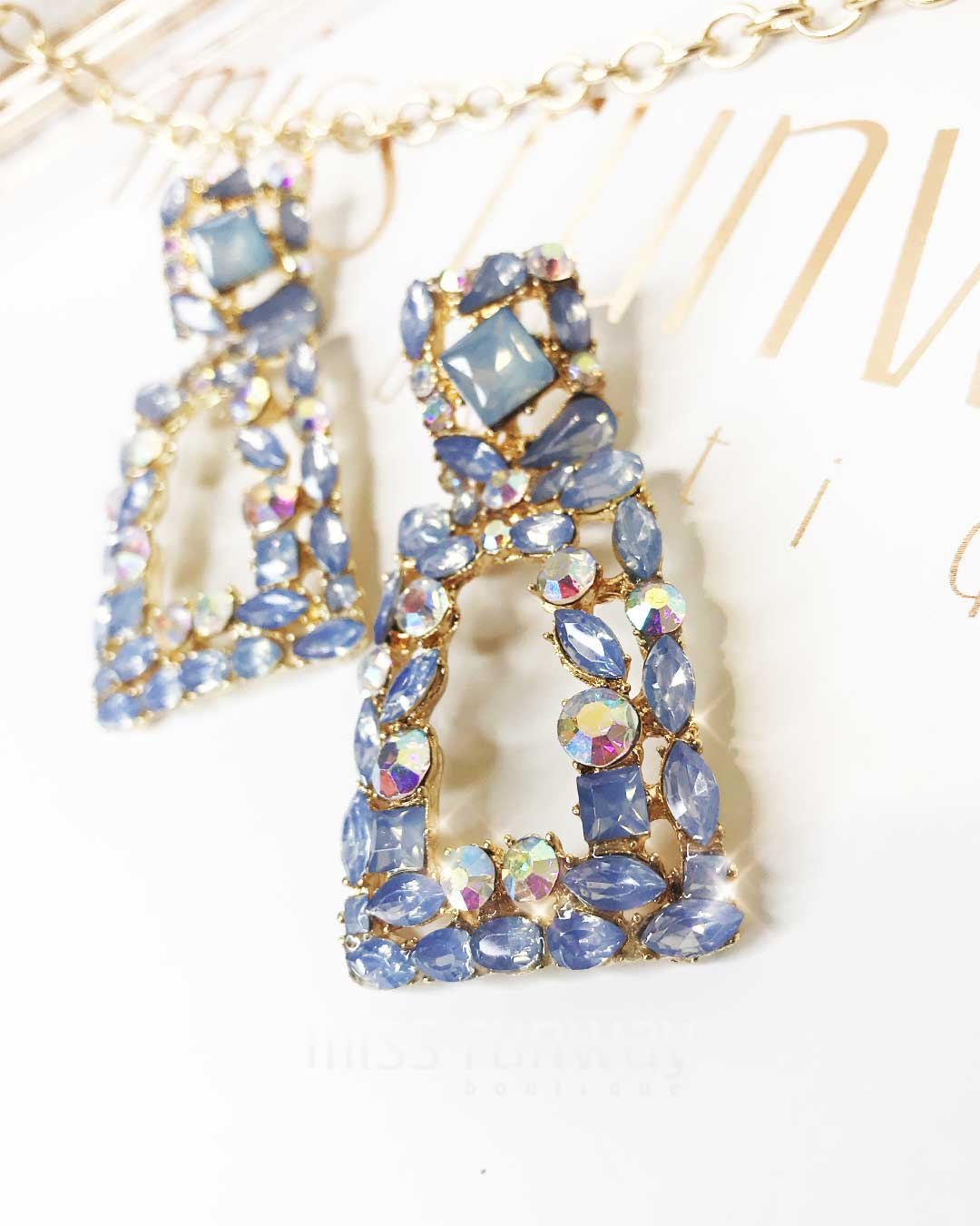 Antoinette Rhinestone Earrings - Blue