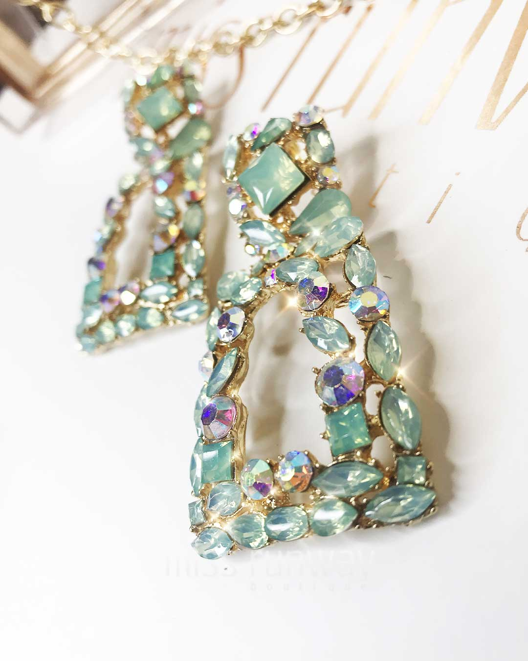 Antoinette Rhinestone Earrings - Green