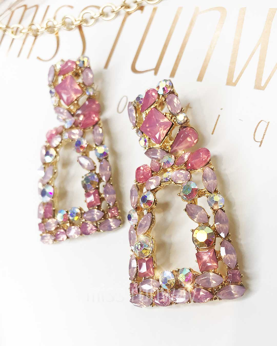 Antoinette Rhinestone Earrings - Pink