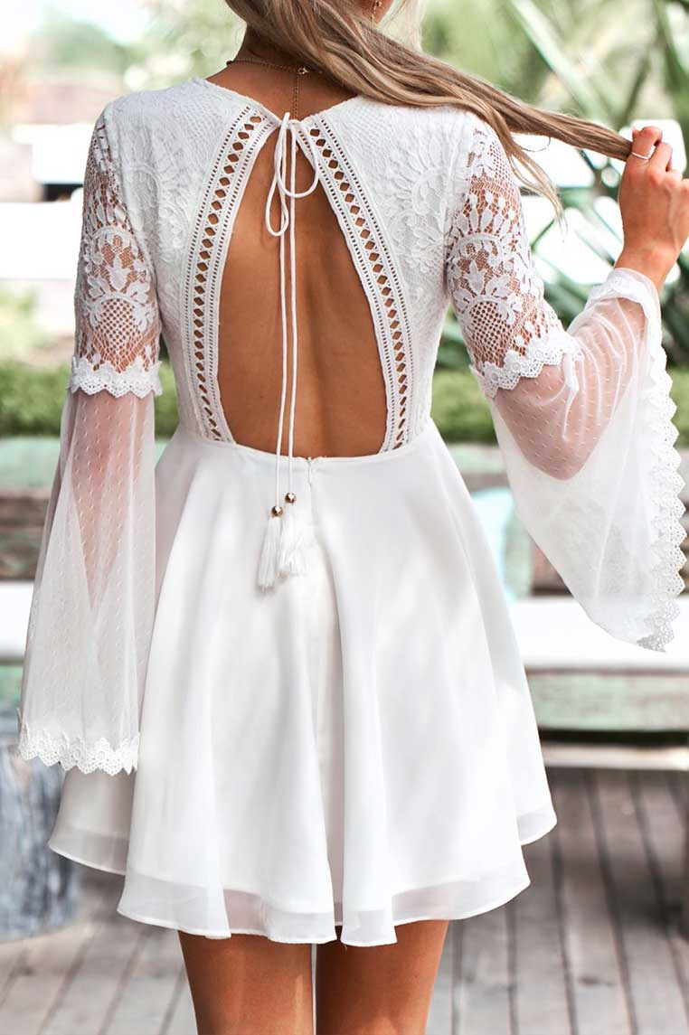 Bethany Lace Dress - White - Miss Runway Boutique
