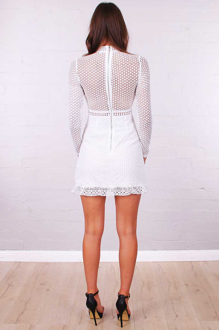 Brenda Lace Dress - White - Miss Runway Boutique