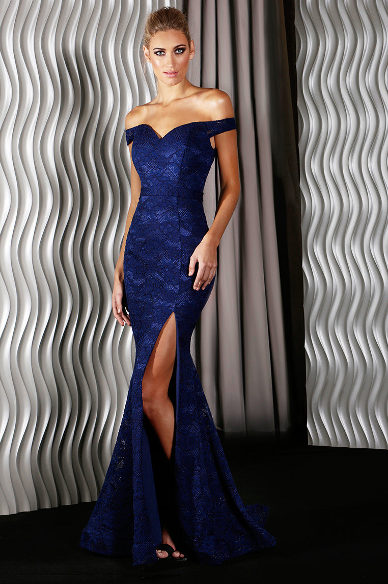 Catherine Lace Formal Gown - Navy - Miss Runway Boutique
