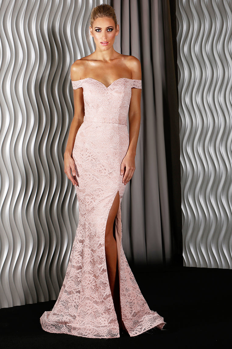Catherine Lace Formal Gown Dusty Pink