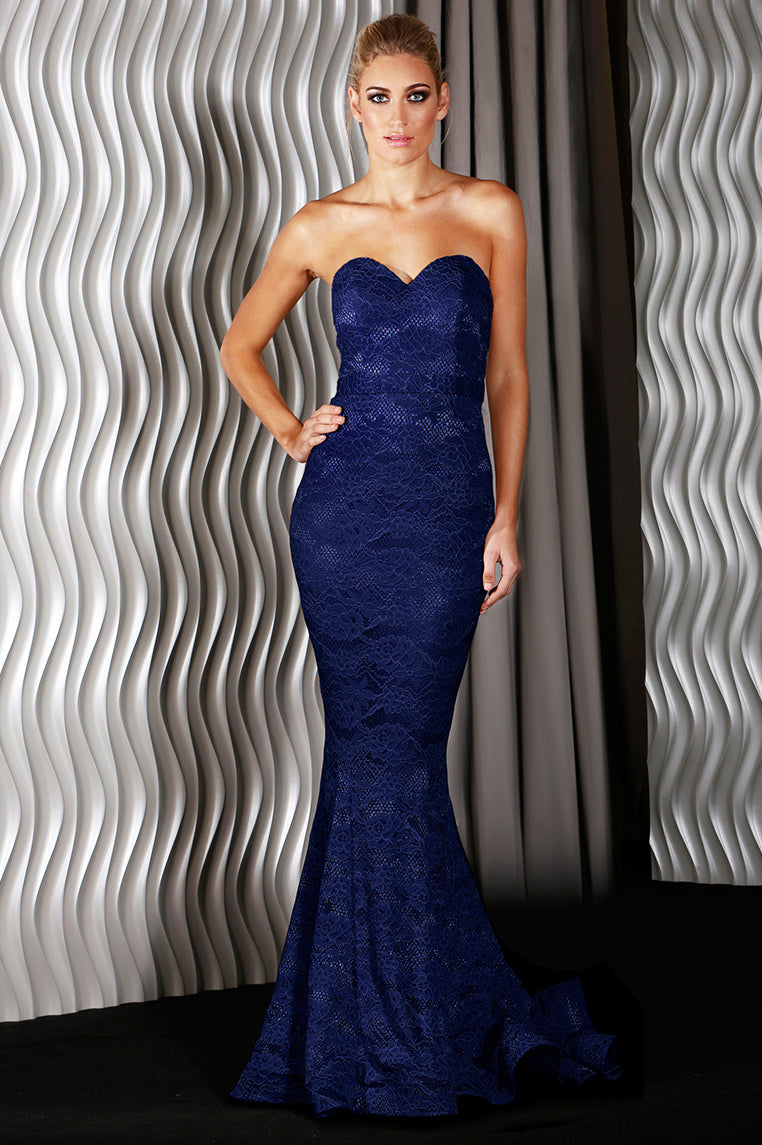 Charlie Lace Formal Gown - Navy [PRE-ORDER] - Miss Runway Boutique