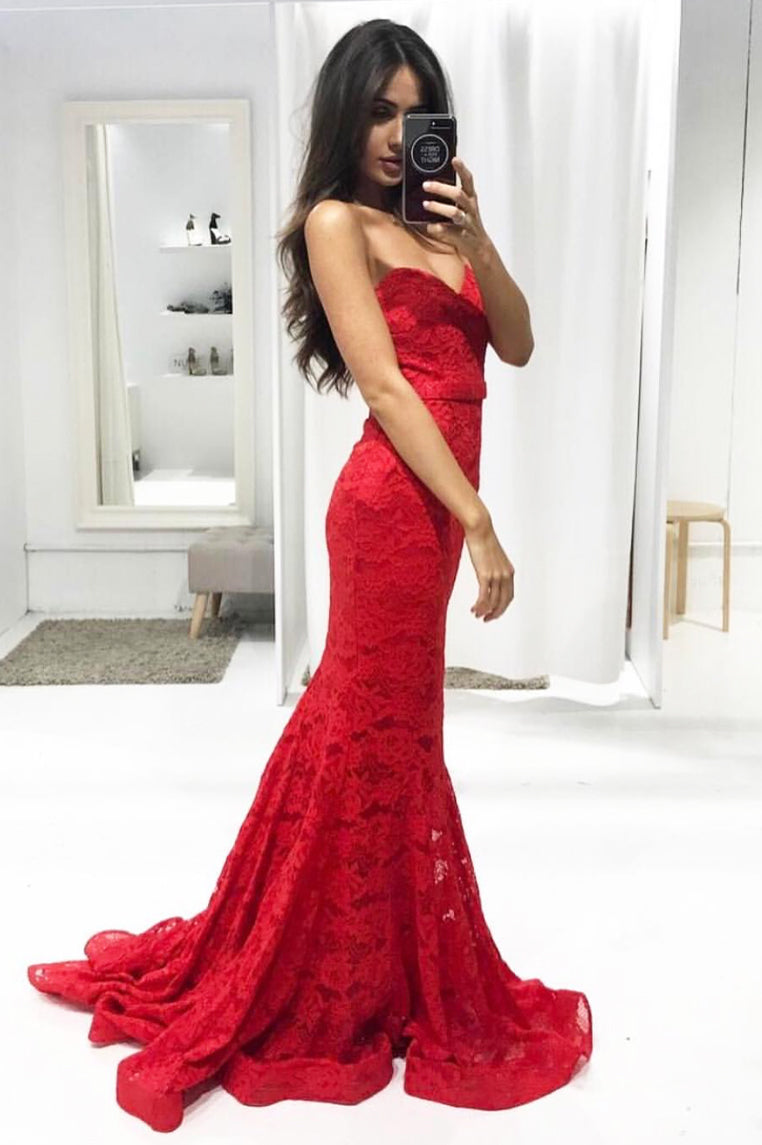 Charlie Lace Formal Gown - Red [PRE-ORDER] - Miss Runway Boutique