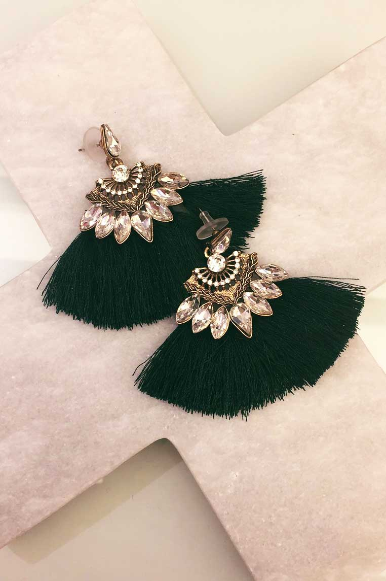 Duster Mini Earrings - Emerald Green - Miss Runway Boutique