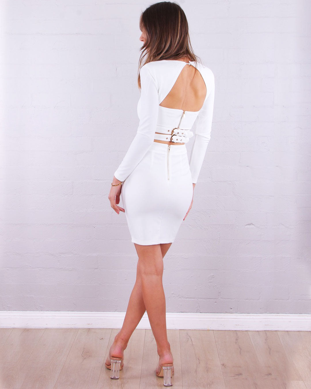 Drew Buckle Dress - White - Miss Runway Boutique