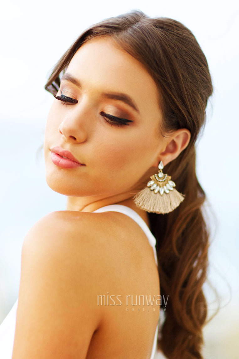 Duster Mini Earrings - Beige - Miss Runway Boutique