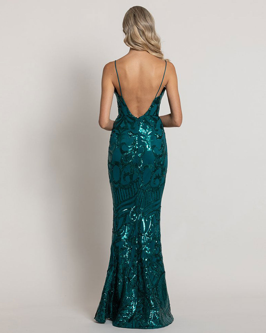 Eisley Pattern Sequin Gown - Emerald Green
