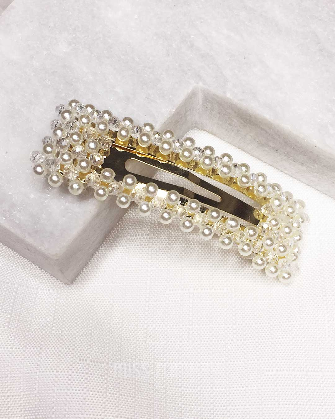 Elly Pearl and Crystal Hair Clip