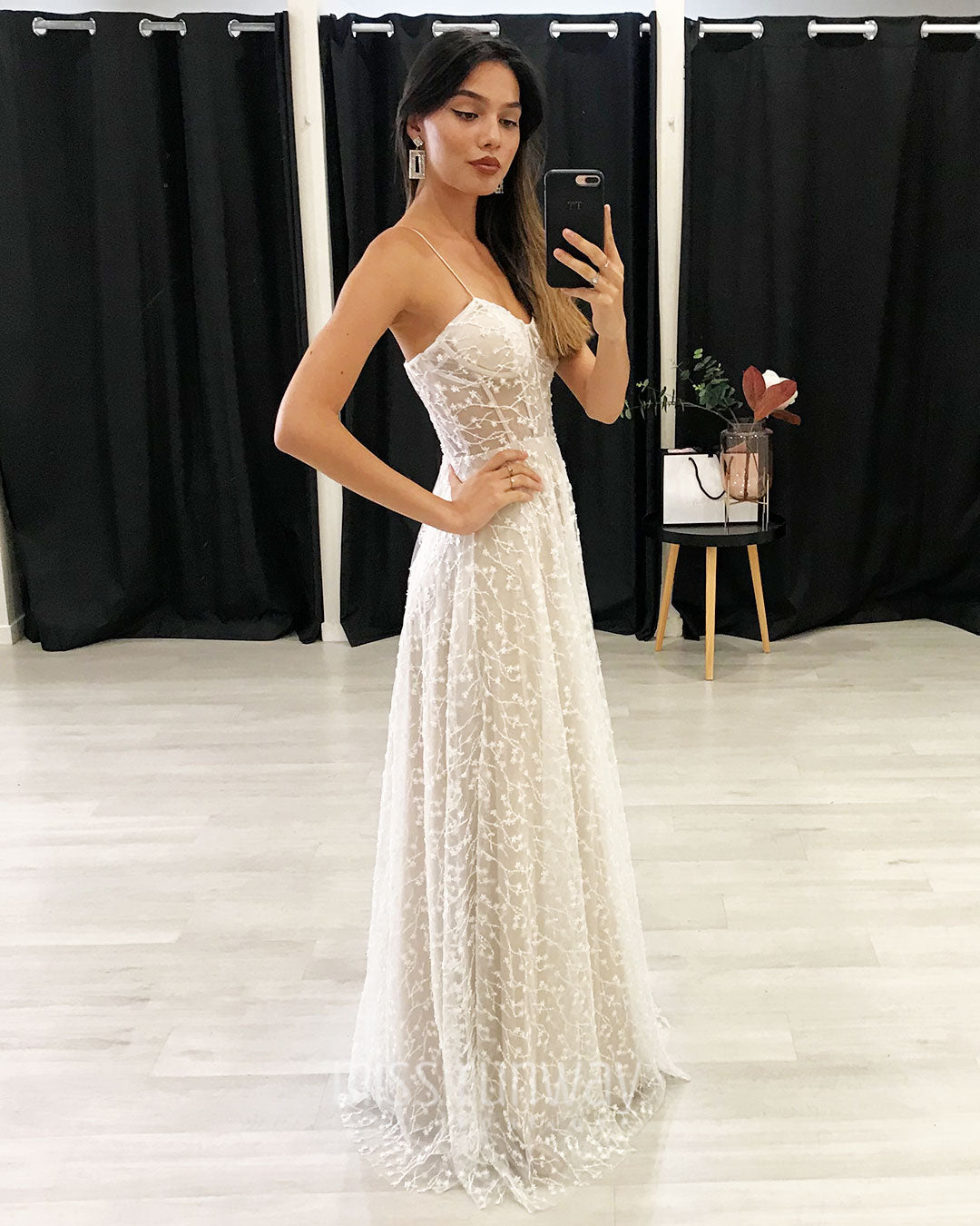 Emily Beaded Gown - Ivory/Nude