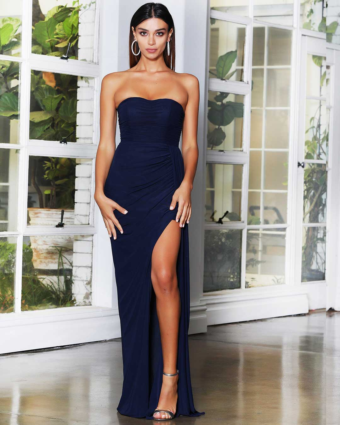 Hailey Mesh Gown - Navy