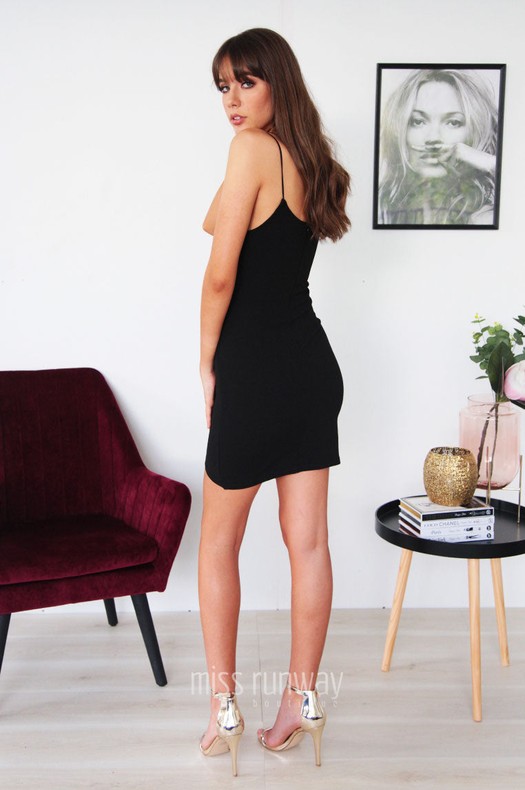 Hustle Cross Over Dress - Black