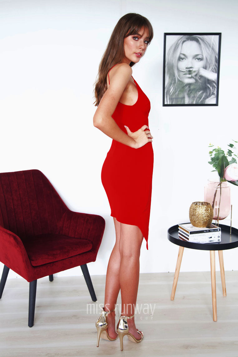Hustle Cross Over Dress - Red