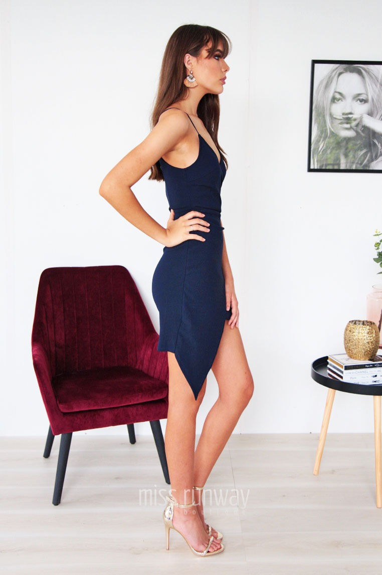Hustle Cross Over Dress - Navy