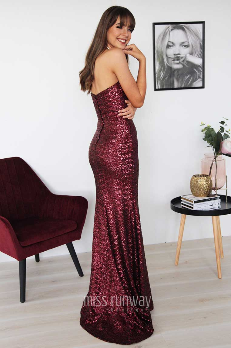 Katherine Sequin Gown - Wine