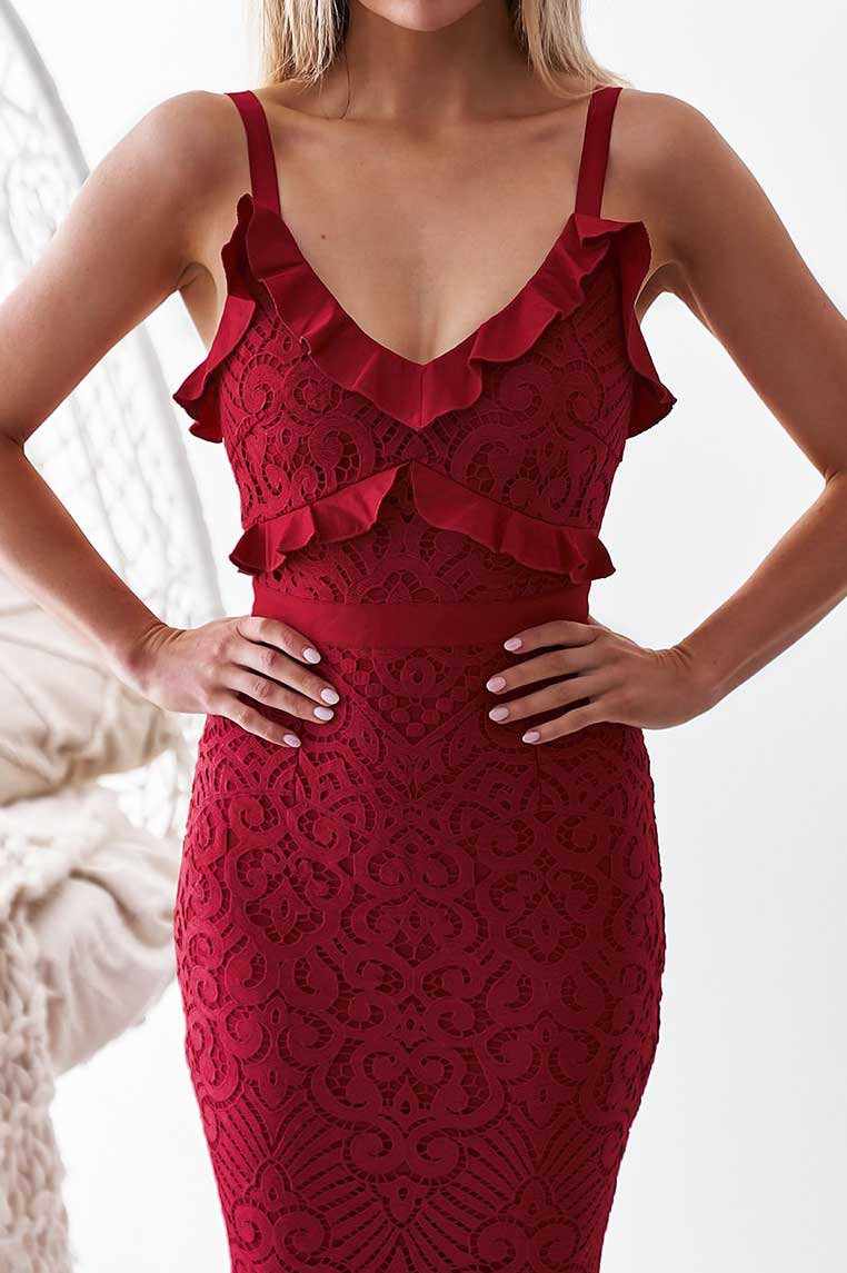 Leanne Lace Midi Dress - Red