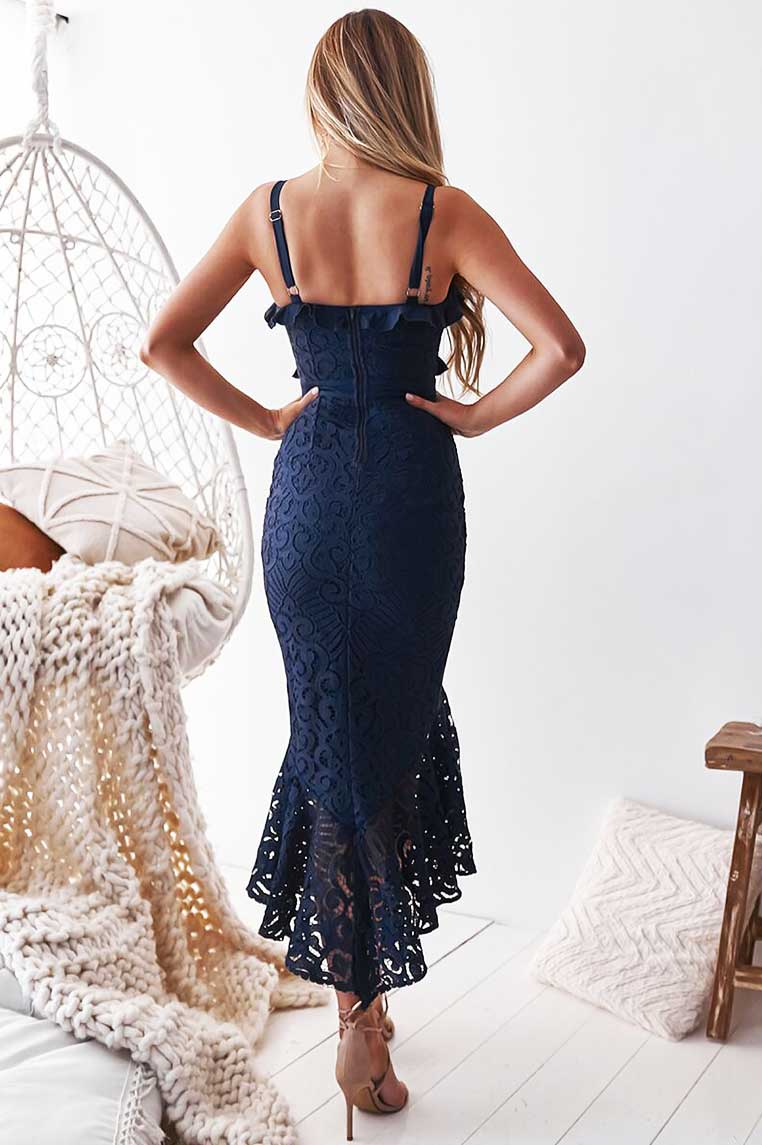 Leanne Lace Midi Dress - Navy