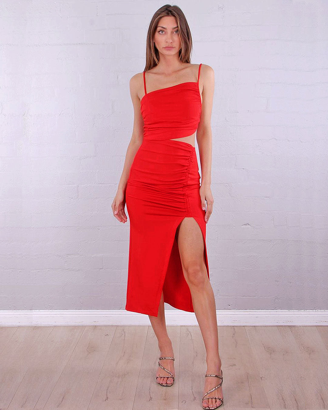 Lizzie Midi Dress - Red