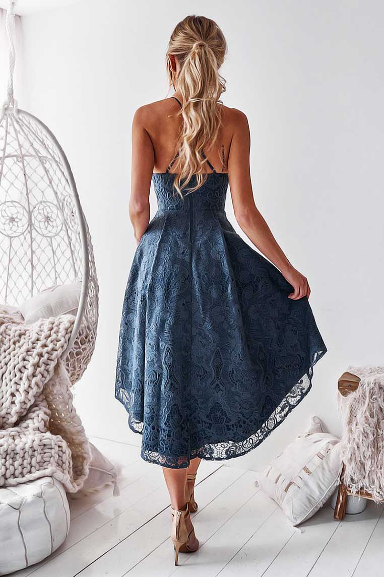 Marilyn Lace Dress - Steel Blue