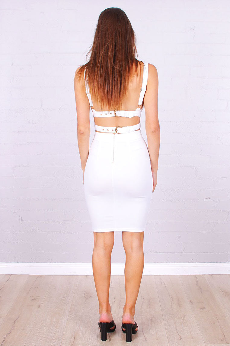 Miley Buckle Dress - White