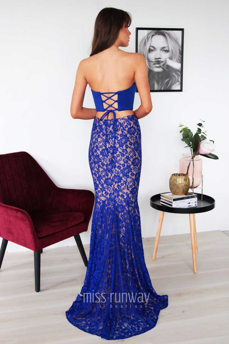 Nina Two Piece Lace Gown - Cobalt