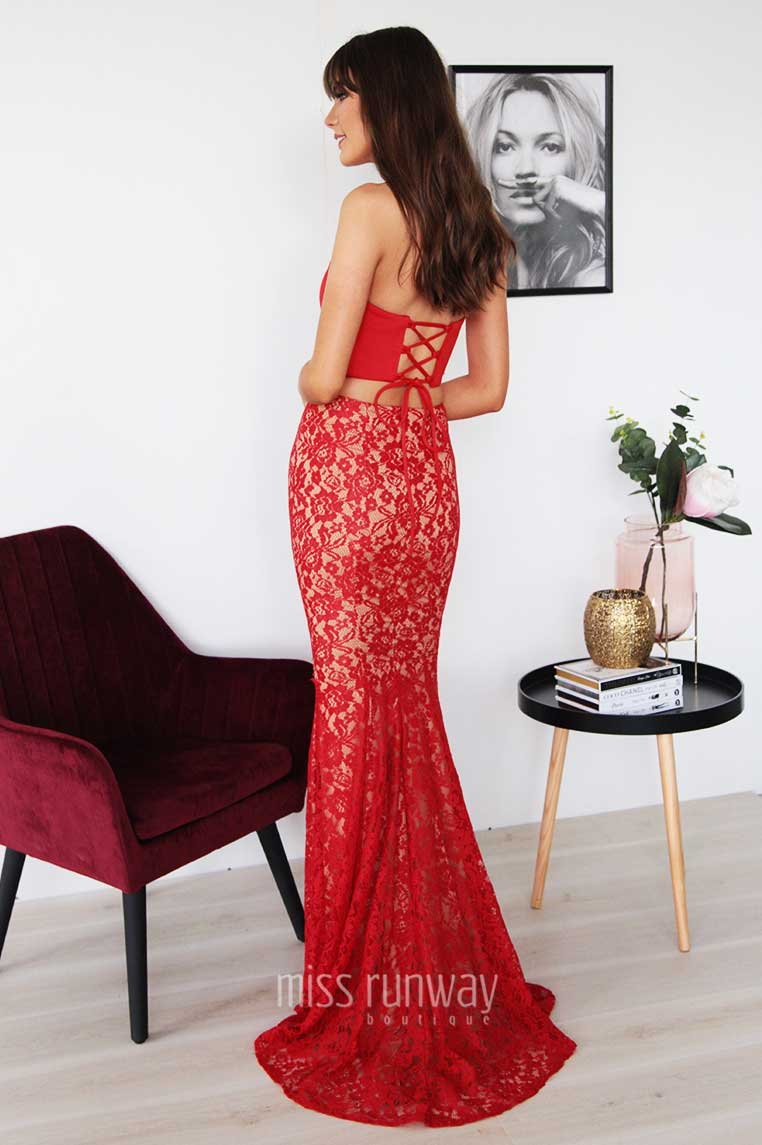 Nina Two Piece Lace Gown - Red