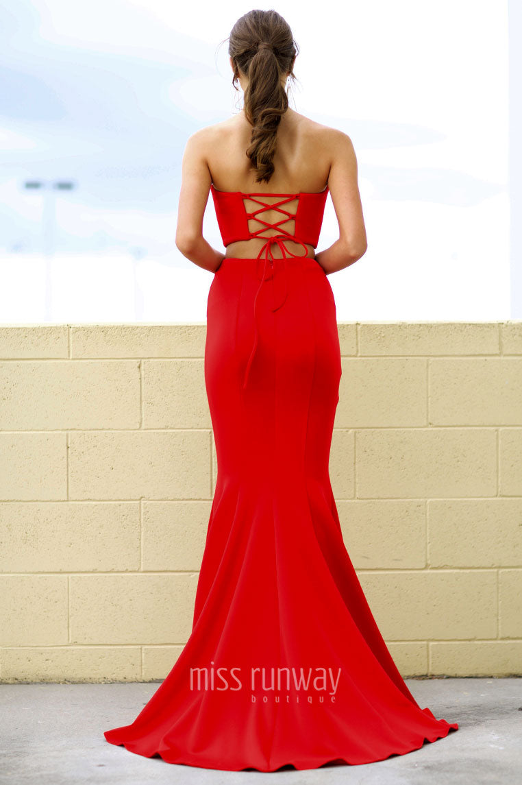 Nina Two Piece Gown - Red - Miss Runway Boutique