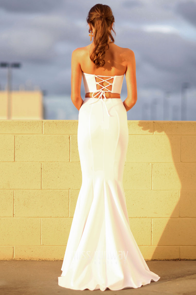 Nina Two Piece Gown - White - Miss Runway Boutique