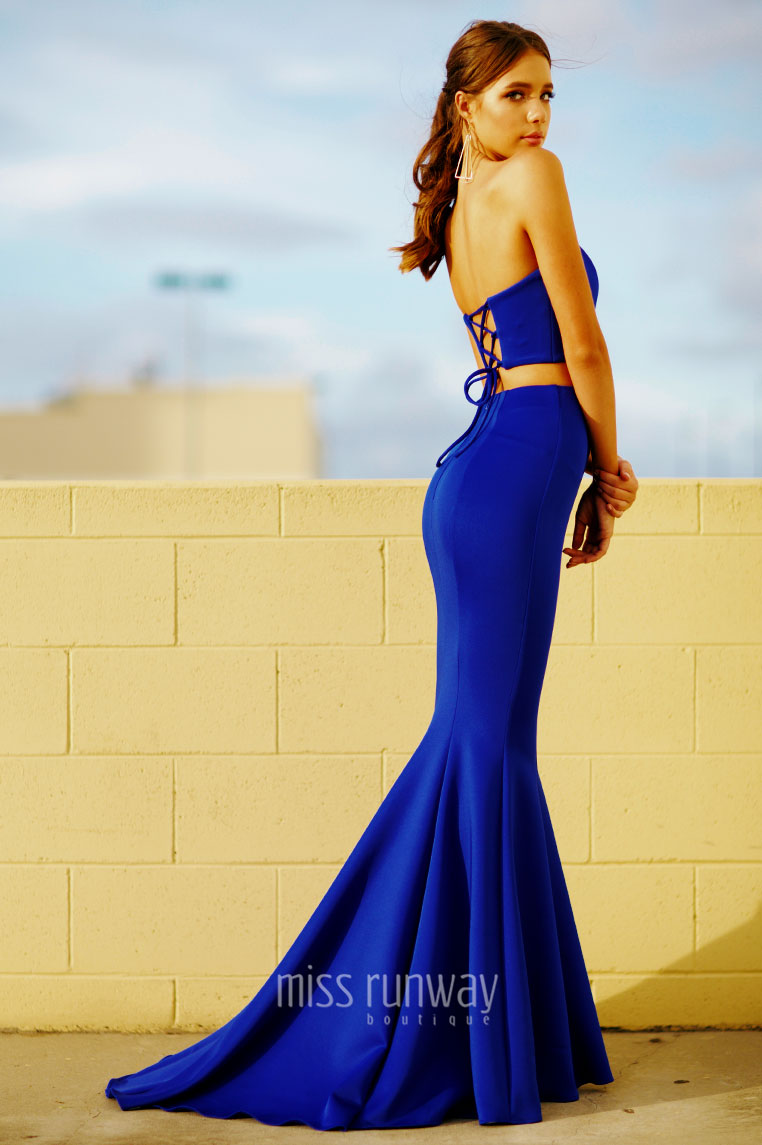 Nina Two Piece Gown - Cobalt - Miss Runway Boutique