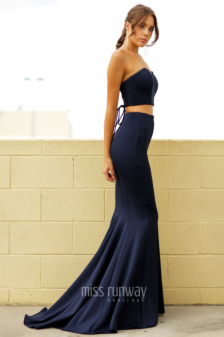 Nina Two Piece Gown - Navy - Miss Runway Boutique