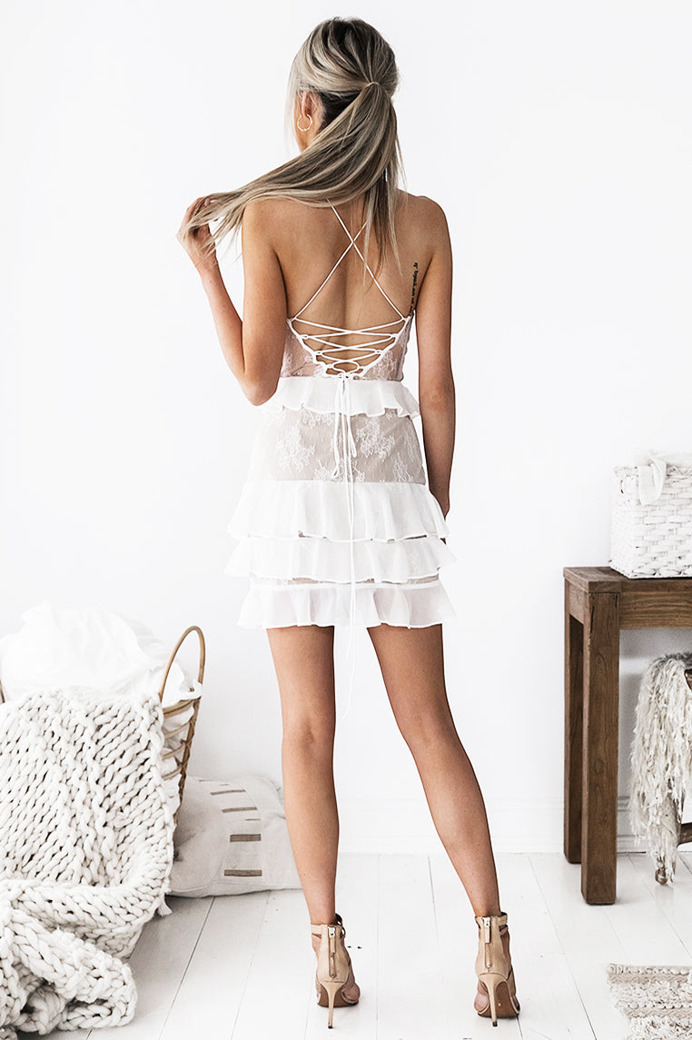 Presley Lace Dress - White - Miss Runway Boutique