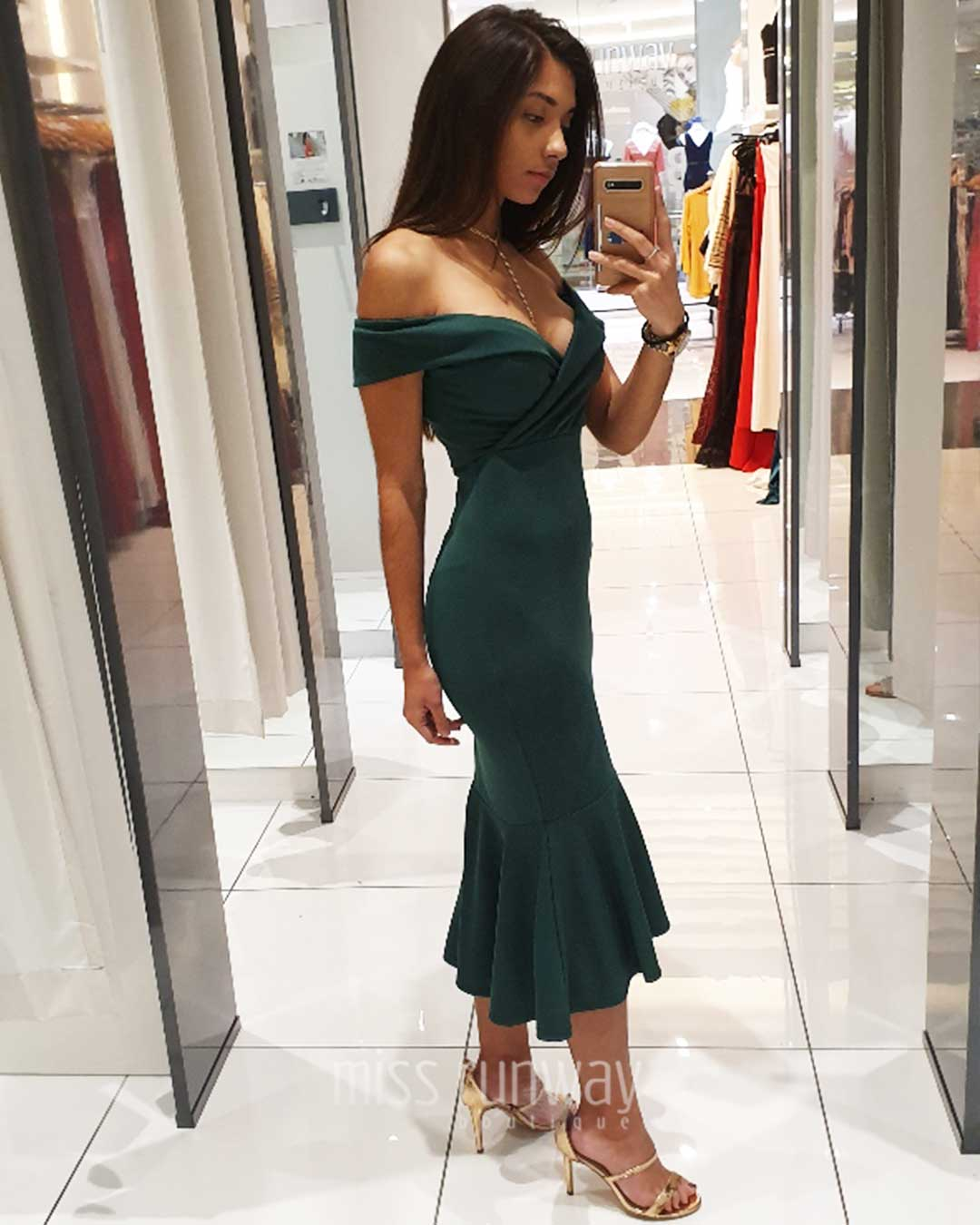 Reece Midi Dress - Emerald Green