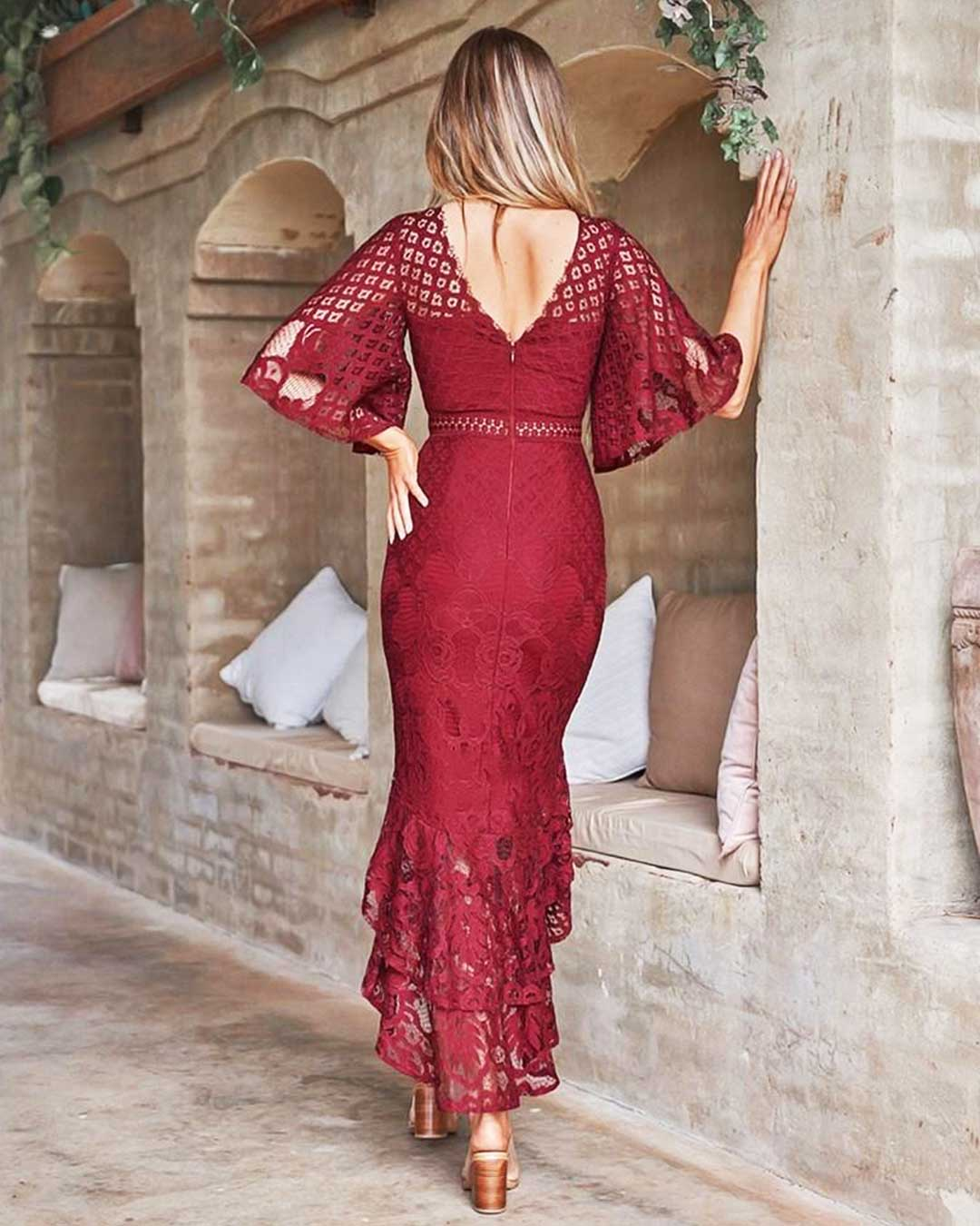 Reyna Lace Midi Dress - Red [PRE-ORDER]