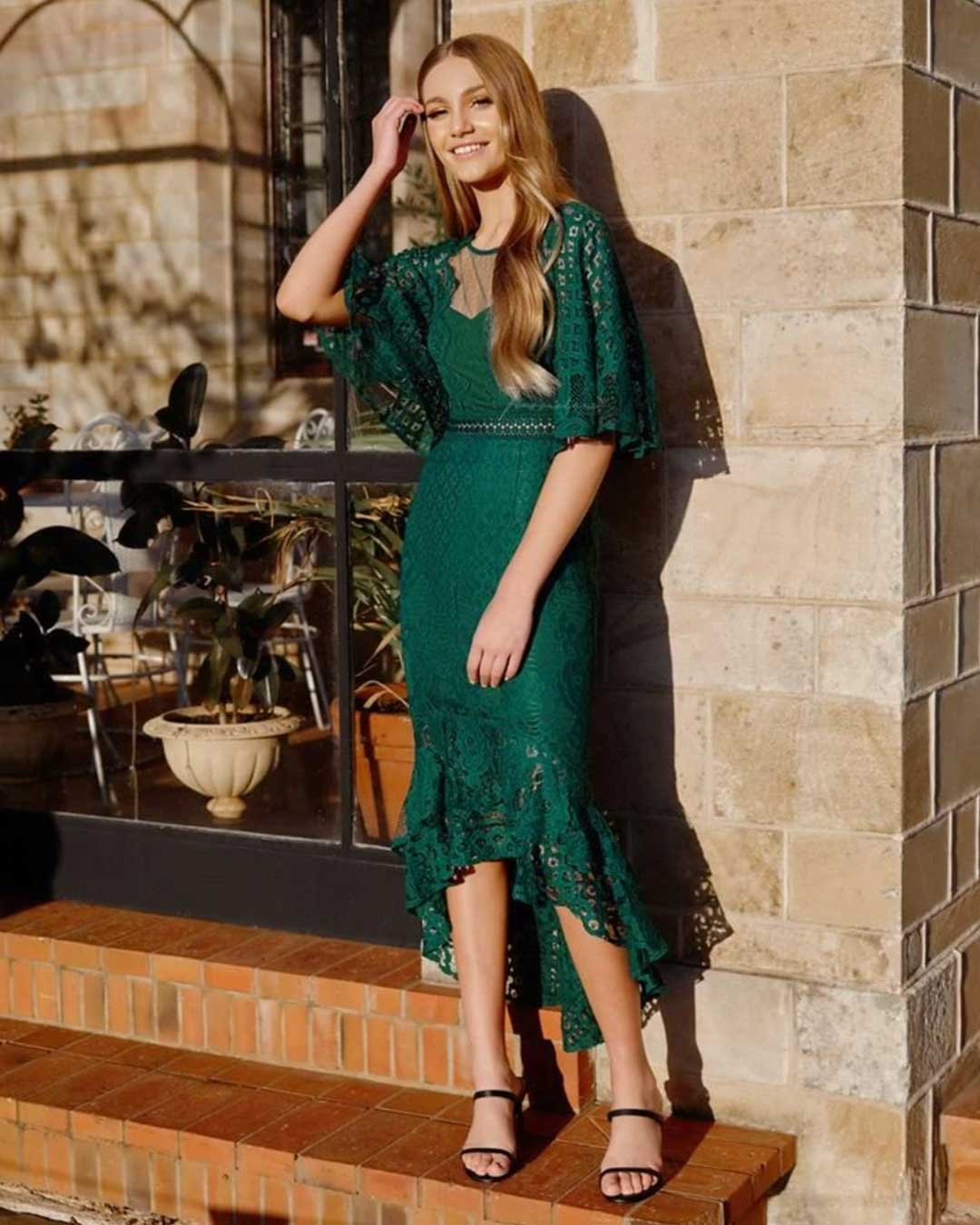 Reyna Lace Midi Dress - Green