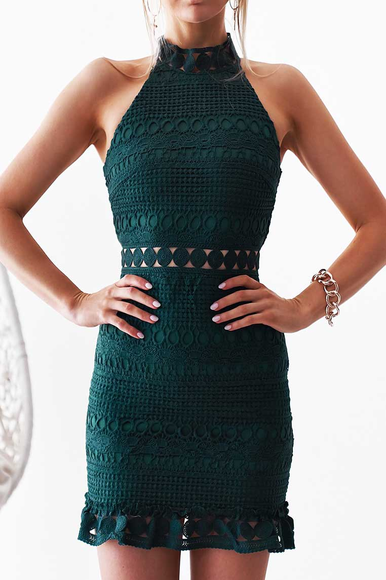 Riverdale Sleeveless Lace Dress - Emerald Green