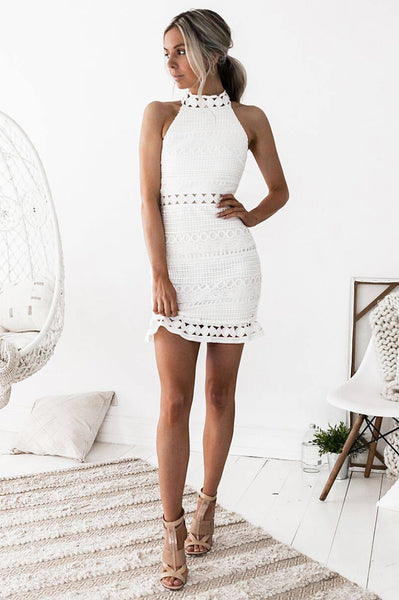 Riverdale Sleeveless Lace Dress - White
